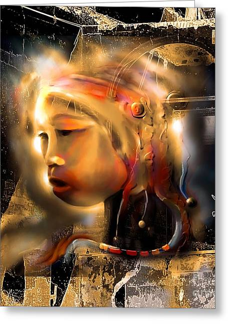 Surrealism Mixed Media Greeting Cards - Ceremonial Queen  Greeting Card by Bob Salo