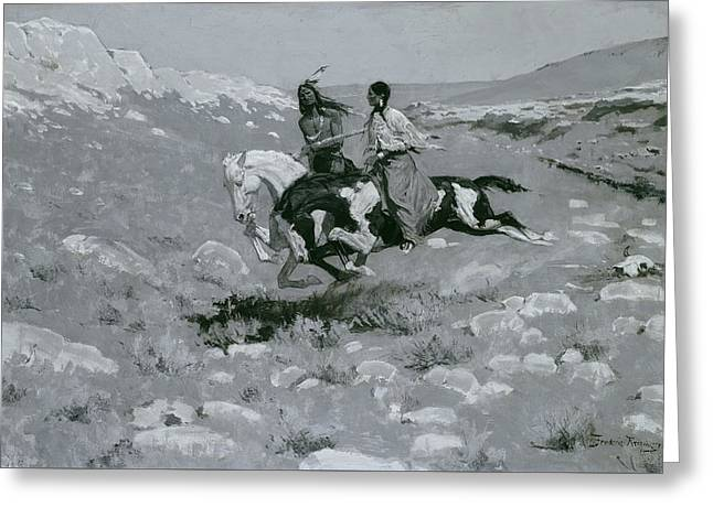 Ceremony Of The Fastest Horse Greeting Card by Frederic Remington