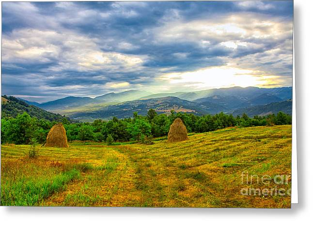 Carpathian Mountains Greeting Cards - Cernei Mountains seen from nearby Mehadia Greeting Card by Gabriela Insuratelu