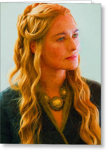 Creative People Greeting Cards - Cersei Lannister I - Game Of Thrones Greeting Card by Nikola Durdevic