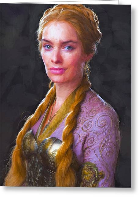 Creative People Greeting Cards - Cersei Lannister II - Game Of Thrones Greeting Card by Nikola Durdevic