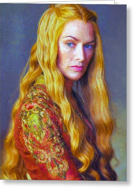 Creative People Greeting Cards - Cersei Lannister IV - Game Of Thrones Greeting Card by Nikola Durdevic