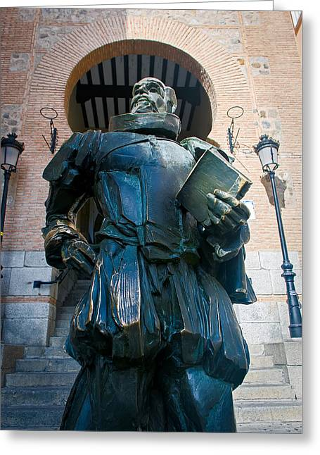 Bronce Greeting Cards - Cervantes Statue Greeting Card by Jose Flores