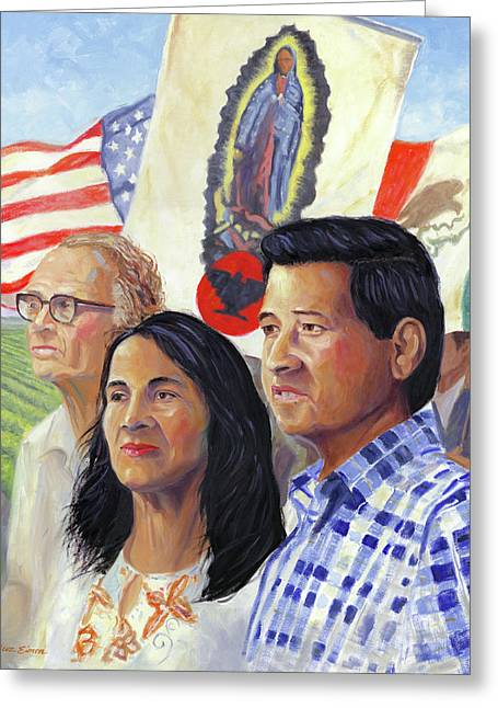 Dolores Greeting Cards - Cesar Chavez and La Causa Greeting Card by Steve Simon