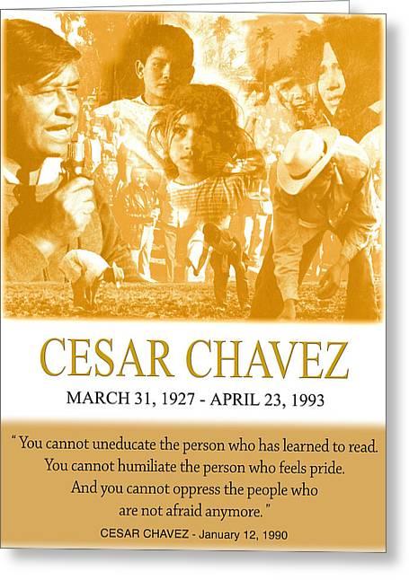 Johnkeaton Greeting Cards - Cesar Chavez Poster Greeting Card by John Keaton