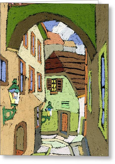 Building Greeting Cards - Cesky Krumlov Masna Street Greeting Card by Yuriy  Shevchuk