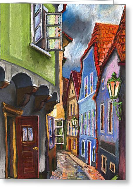 Pastels Greeting Cards - Cesky Krumlov Old Street 1 Greeting Card by Yuriy  Shevchuk