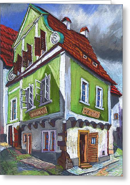 Architectur Greeting Cards - Cesky Krumlov Old Street 3 Greeting Card by Yuriy  Shevchuk