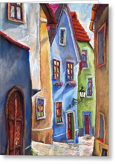 Pastels Greeting Cards - Cesky Krumlov Old Street Greeting Card by Yuriy  Shevchuk