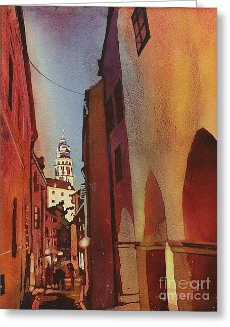 Cesky Krumlov Walk Home Greeting Card by Ryan Fox