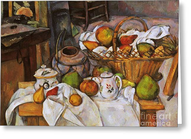 Interior Still Life Greeting Cards - Cezanne: Table, 1888-90 Greeting Card by Granger