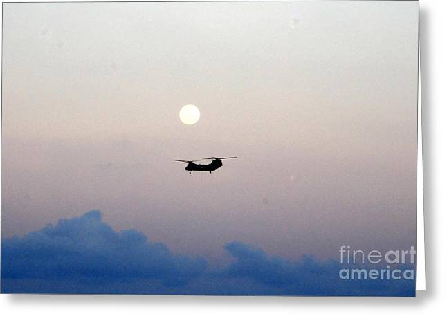 Sea Moon Full Moon Greeting Cards - CH-46 Sea Knight helicopter Greeting Card by Celestial Images