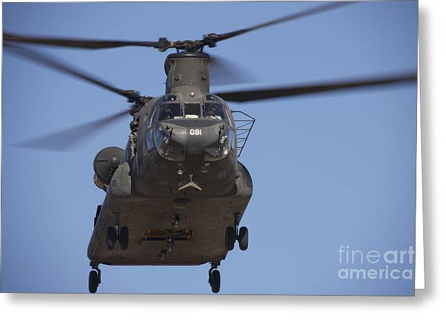 Angel Blues Greeting Cards - Ch-47 Chinook Flies Over Playas Greeting Card by Terry Moore
