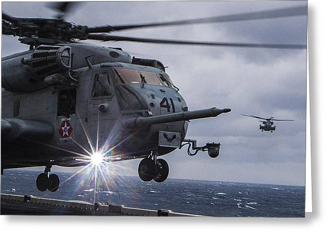 F-18 Paintings Greeting Cards - CH-53E Super Stallion helicopter US Navy Greeting Card by Celestial Images