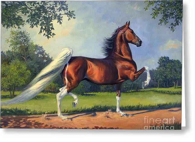 Jeanne Newton Schoborg Greeting Cards - CH. Racing Stripe Greeting Card by Jeanne Newton Schoborg