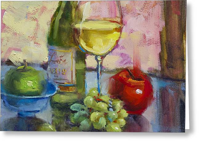 Wine Grapes Greeting Cards - Chablis Greeting Card by Monique Carr