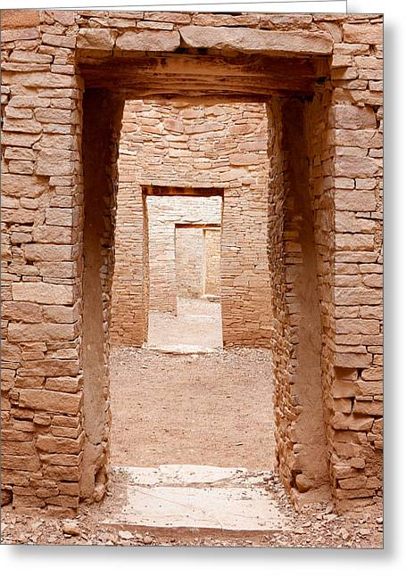 Pueblo People Greeting Cards - Chaco Canyon Doorways 3 Greeting Card by Carl Amoth