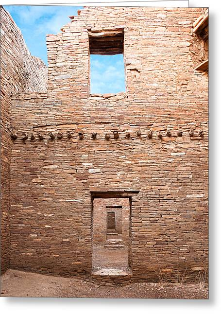 Pueblo People Greeting Cards - Chaco Canyon Doorways 4 Greeting Card by Carl Amoth
