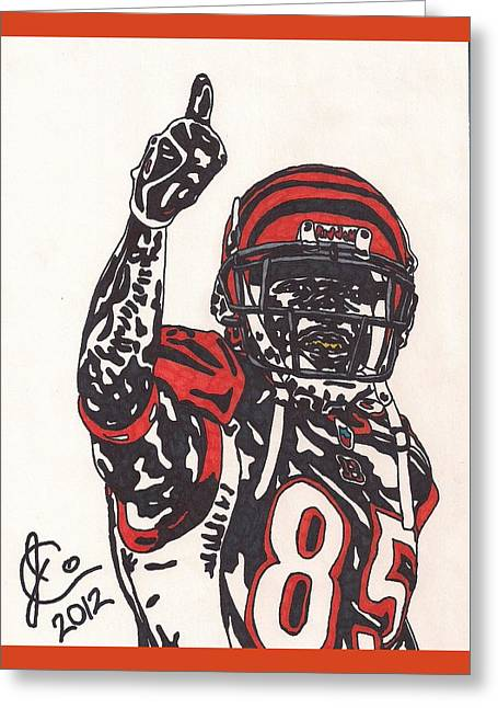 Bengal Drawings Greeting Cards - Chad Ocho Cinco Johnson Greeting Card by Jeremiah Colley
