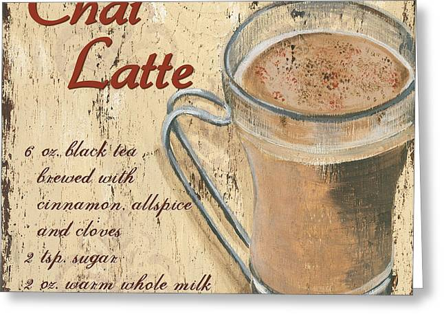Recipes Greeting Cards - Chai Latte Greeting Card by Debbie DeWitt
