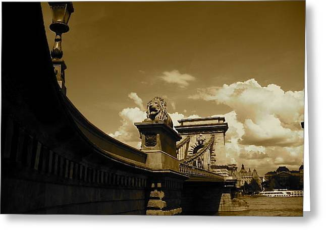 Ship In Sepia Greeting Cards - Chain Bridge Greeting Card by Monia Lisa