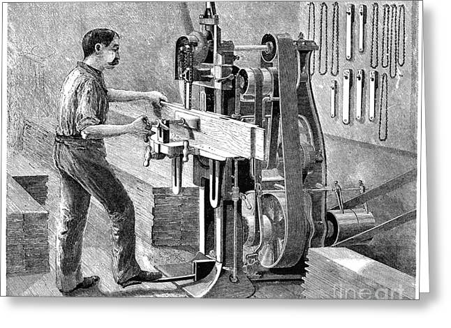 Saw Greeting Cards - Chain Mortiser Saw, 19th Century Greeting Card by Spl
