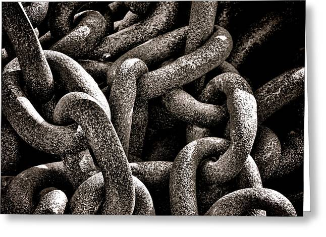Heavy Chains Greeting Cards - Chained  Greeting Card by Olivier Le Queinec