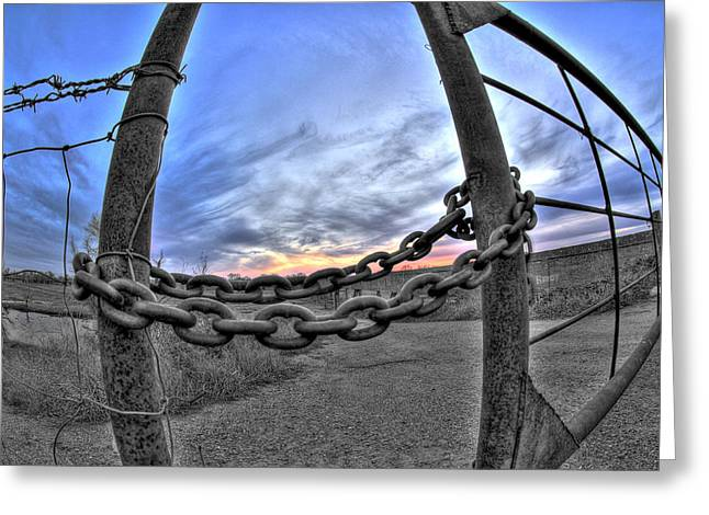 Chained Sky Greeting Card by Tom Melo