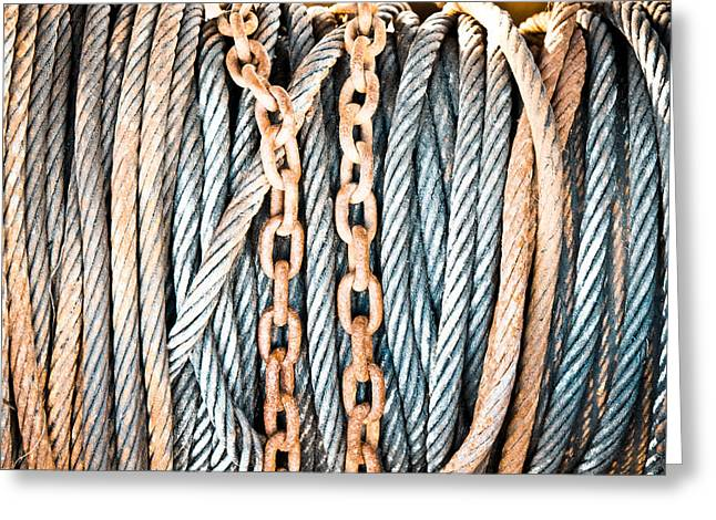 Chain-ring Greeting Cards - Chains and cables Greeting Card by Tom Gowanlock