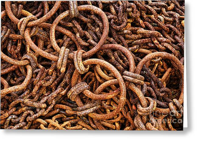 Chains Greeting Cards - Chains and Rings and Rust Greeting Card by Olivier Le Queinec