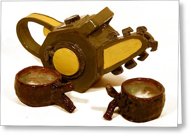 Ceramic Ceramics Greeting Cards - Chainsaw Teapot and Log teacups 2 Greeting Card by Candie Witherspoon
