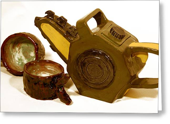 Ceramic Ceramics Greeting Cards - Chainsaw Teapot and Log teacups Greeting Card by Candie Witherspoon