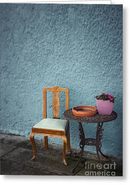 Chair And Iron Table Greeting Card by Carlos Caetano