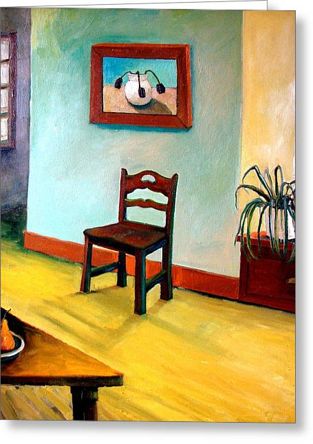 Skewed Greeting Cards - Chair and Pears Interior Greeting Card by Michelle Calkins