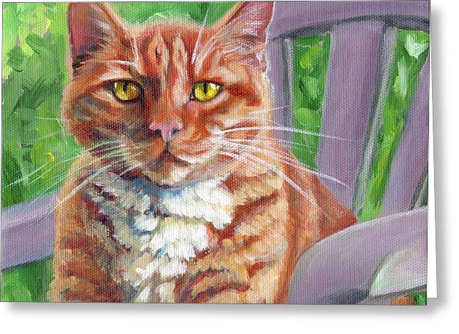 Orange Tabby Paintings Greeting Cards - Chair Boss Greeting Card by Pat Burns