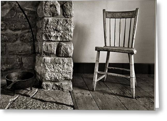 Spindle Greeting Cards - Chair - Fireplace Greeting Card by Nikolyn McDonald
