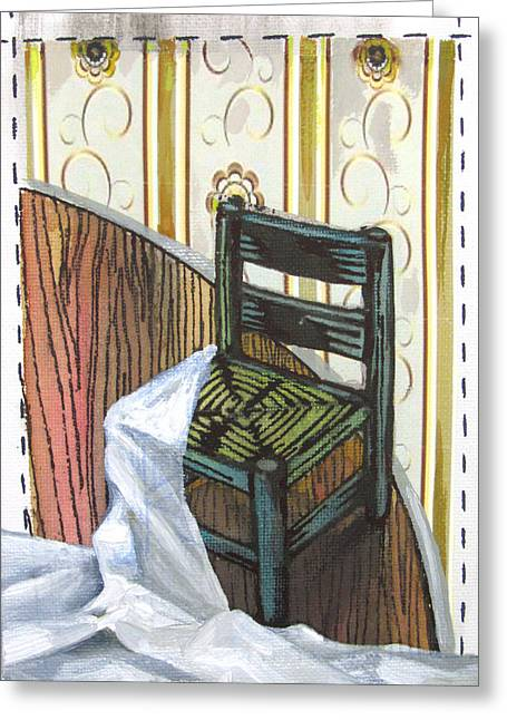 Recently Sold -  - Lino Paintings Greeting Cards - Chair IV Greeting Card by Peter Allan