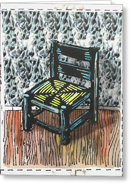 Lino Print Greeting Cards - Chair IX Greeting Card by Peter Allan