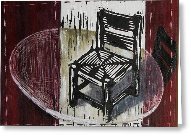 Lino Mixed Media Greeting Cards - Chair VI Greeting Card by Peter Allan