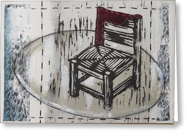 Lino Mixed Media Greeting Cards - Chair VII Greeting Card by Peter Allan