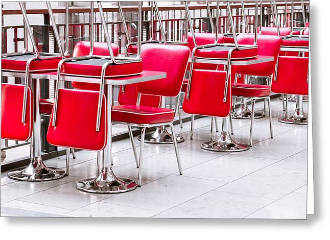 Closing Time Greeting Cards - Chairs and tables Greeting Card by Tom Gowanlock
