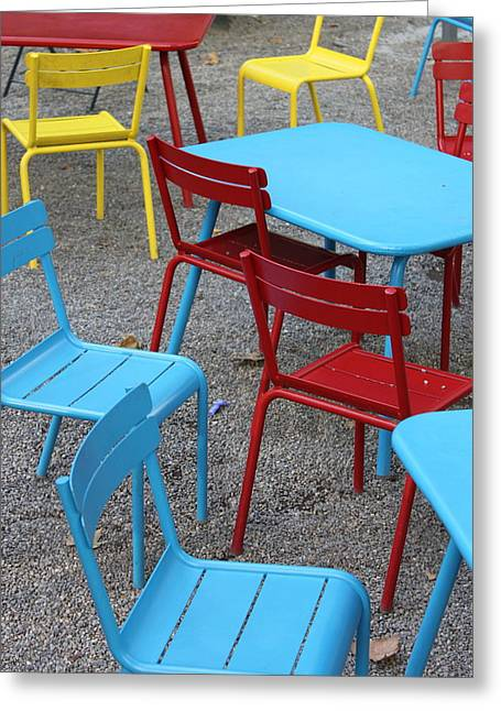 Bryant Park Photographs Greeting Cards - Chairs in Bryant Park Greeting Card by Lauri Novak
