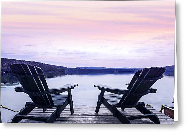 Reflecting Water Greeting Cards - Chairs on lake dock Greeting Card by Elena Elisseeva