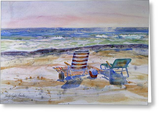 Ocean Shore Mixed Media Greeting Cards - Chairs on the Beach Greeting Card by Shirley Sykes Bracken