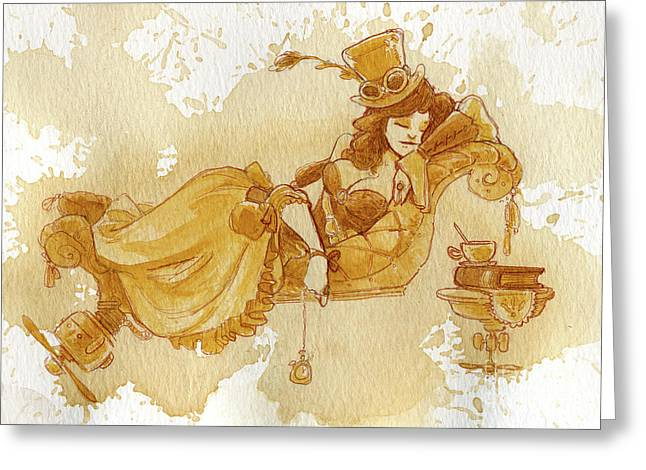 Steampunk Greeting Cards - Chaise Greeting Card by Brian Kesinger
