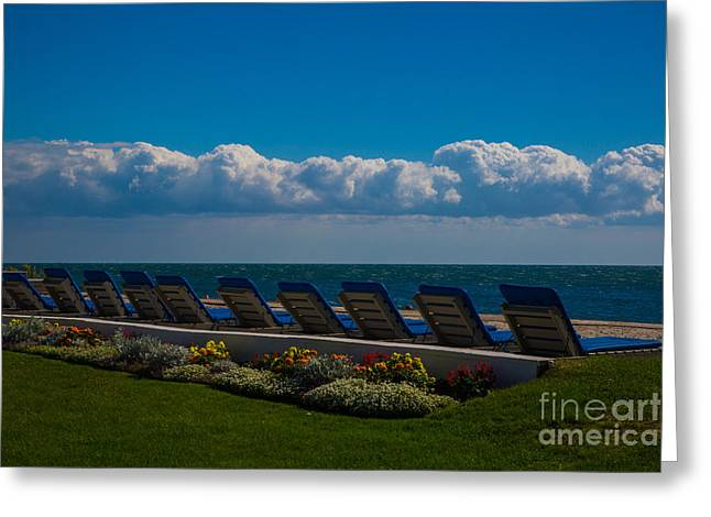 Chaise-lounge Greeting Cards - Chaise Lounge at Surfcomber Greeting Card by Laura Ragosta