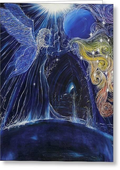 Chakra Rainbow Greeting Cards - Chakra Angel Greeting Card by Maria Nil Imre