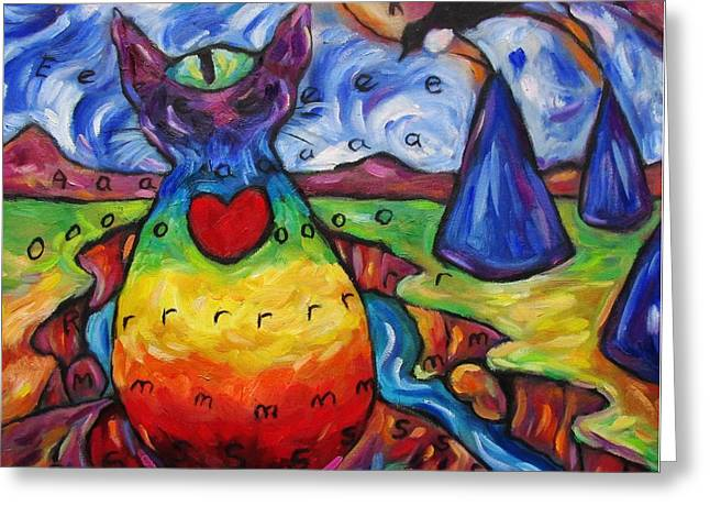 Chakra Rainbow Greeting Cards - Chakra Cat At Blue Tent Canyon Greeting Card by Dianne  Connolly
