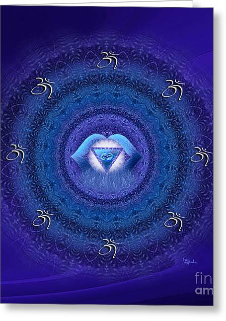 Purple Abstract Greeting Cards - Chakra mandala art - Ajna Chakra Mandala by RGiada Greeting Card by Giada Rossi