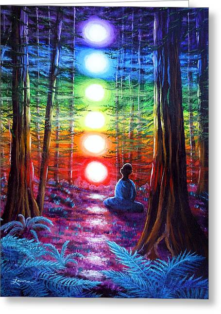 Enlightenment Greeting Cards - Chakra Meditation in the Redwoods Greeting Card by Laura Iverson